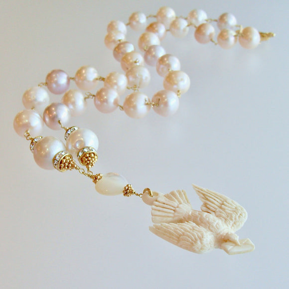 Saint Esprit Dove With Love Note Natural Pink Peach Baroque Cultured Pearls - Le Messenger de l'Amour