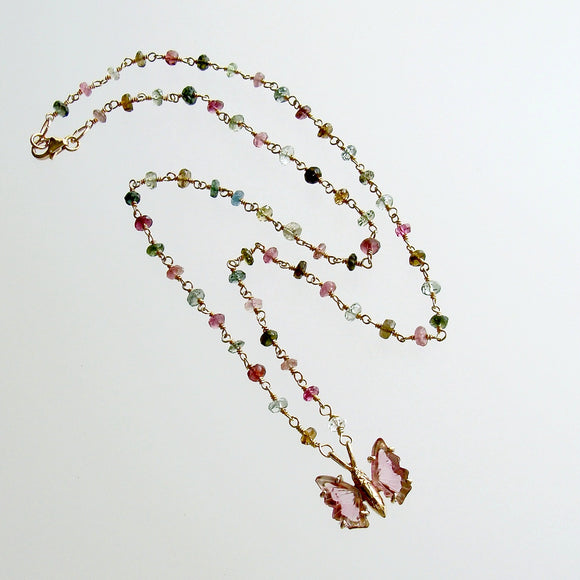 Tourmaline Butterfly Pendant Tourmaline Beaded Chain - Le Papillon XXIII Necklace