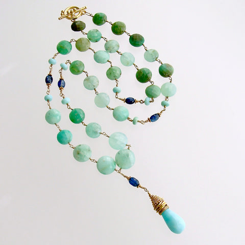 Chrysoprase Coins Peruvian Blue Opal Kyanite Necklace - Molly II Necklace