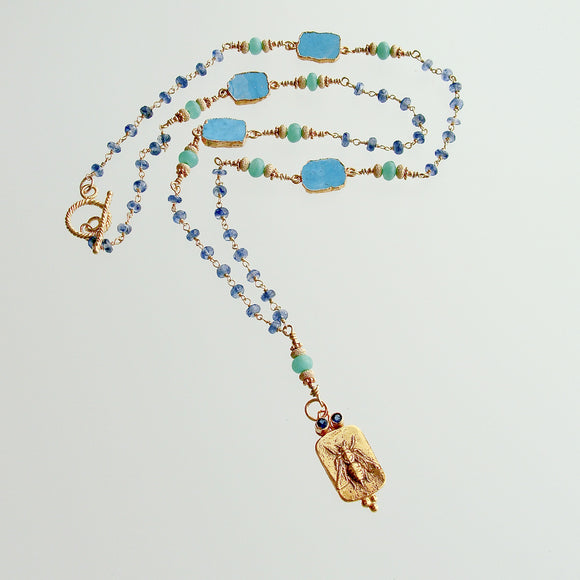 Queen Bee Intaglio Vermeil Pendant Blue Sapphires Turquoise Slices, Kyanite Chain & Chrysoprase - Morgaine Queen Bee Necklace