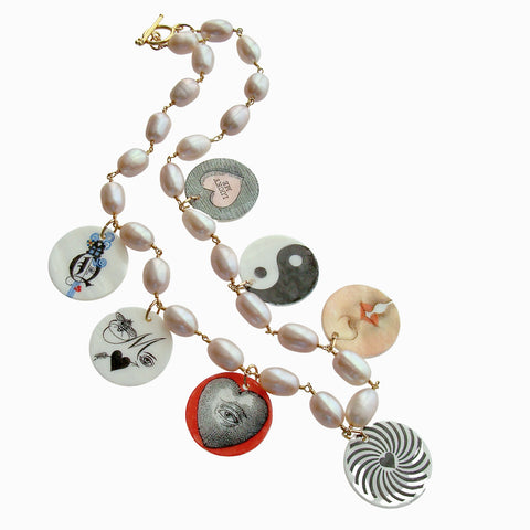 Natural Pink Cultured Pearls & Victorian MOP Love Tokens - Por Toi, Mon Amour (For You, My Love)
