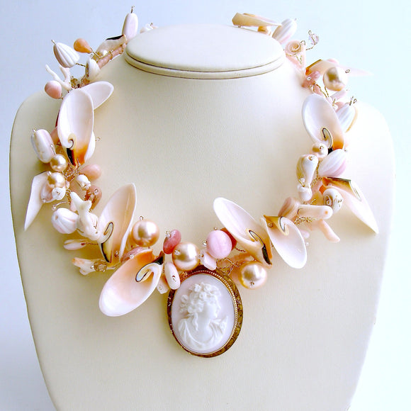 10K Gold Angelskin Coral Carved Cameo Shell Necklace - Shell of an Idea V Necklace