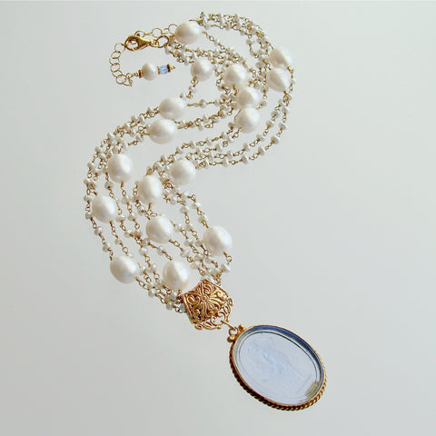 Freshwater Pearls Cornflower Blue Venetian Glass Intaglio Cameo Necklace - Taormina III Necklace