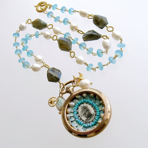 Sailor's Valentine Pocket Watch Aqua Chalcedony Labradorite Necklace - Antigua IV Necklace