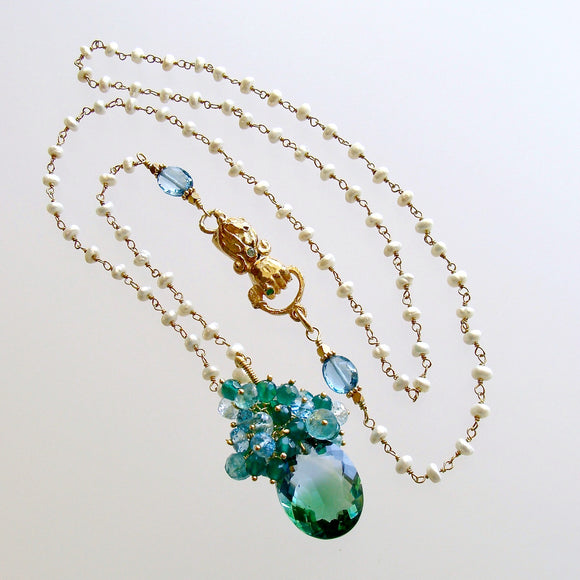 Blue Green Ametrine London Blue Topaz Green Onyx Hand Clasp Cluster Necklace - Bella Cluster Necklace