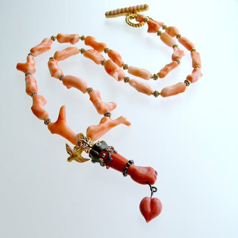 Coral Branch Necklace Removable Hand and Heart Coral Lampwork Figa Pendant - Cordelia Necklace