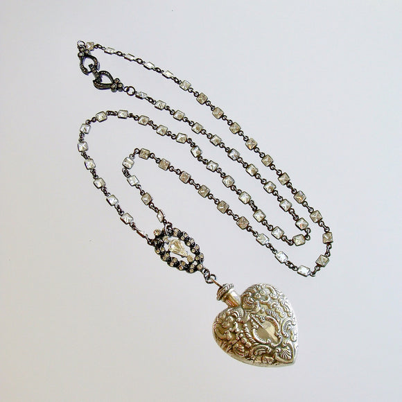 Sterling Silver Repousse Chatelaine Heart Scent Bottle Necklace - Cressida II Necklace