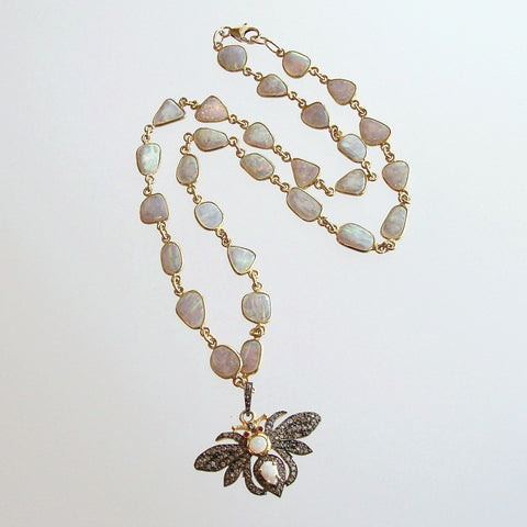 Opal Slices Necklace With Diamond/Opal/Ruby Bee Pendant - Devora Necklace