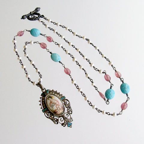 Sleeping Beauty Turquoise Pink Sapphire Pearl Rubies Georgian Porcelain Mourning Locket Necklace - Emiline Necklace