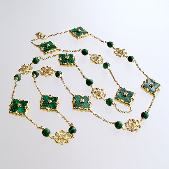 Malachite CZ  Stations Layering Necklace - Fiona II Necklace