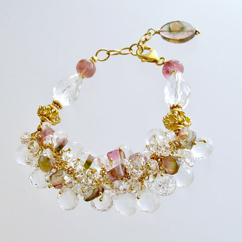 Watermelon Tourmaline Rock Crystal Adjustable Cluster Bracelet - Fleurs Confites Bracelet