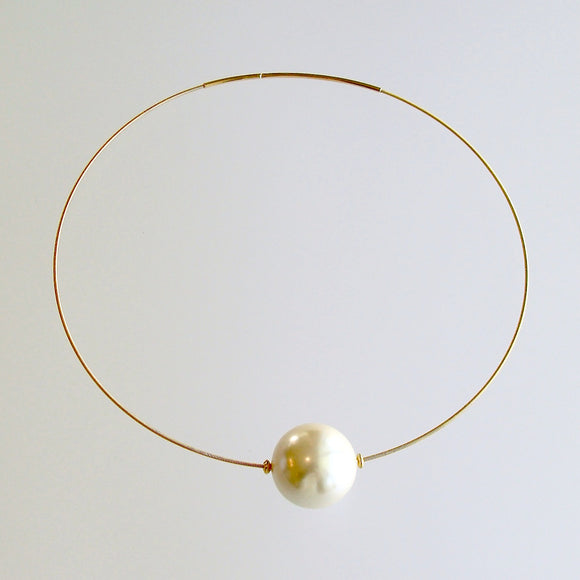 Huge Vintage Pearl Gold Vermeil Hoop Necklace - Gabrielle Necklace