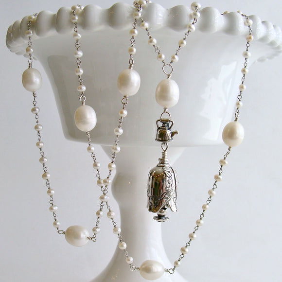 Seed Pearl Baroque Pearl Grandmother Teapot and Cup Bell Necklace - Grandmother Bell Necklace