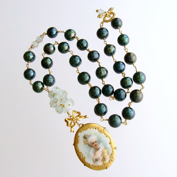 Evergreen Baroque Pearls, Aquamarine & Hand Painted Porcelain Pendant Necklace - Marie's Folly Necklace