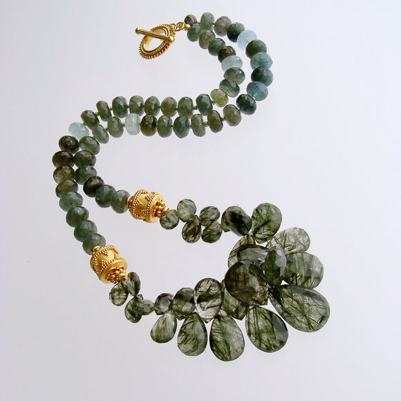 Tourmilated Moss Aquamarine Briolette Choker Necklace - Marjory Necklace