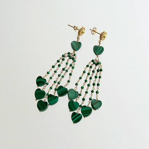 Malachite Hearts Duster Tassel Earrings -  Monique Duster Earrings