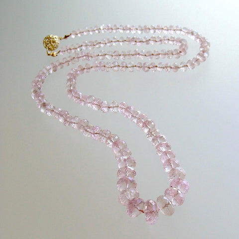 Graduated Pink Morganite Silk Knotted Opera Necklace With 14k Gold Diamond Clasp - Peony Necklace