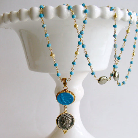 Turquoise Pyrite Layering Necklace With Venetian Glass Intaglio And Antique Coin Pendant - Triora Necklace