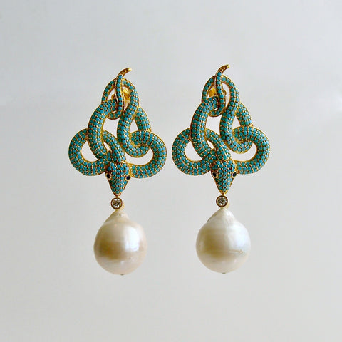 Turquoise Crystal Baroque Pearl Snake Earrings - Lindie Earrings