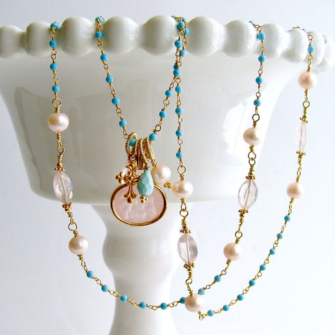 #2 Treia Necklace - Pink Venetian Intaglio Necklace Turquoise Rose Quartz
