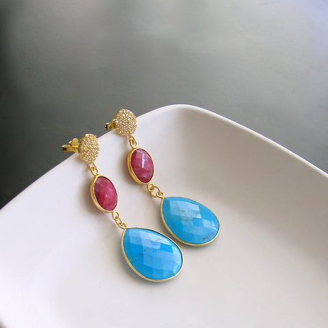 #2 Roxie Earrings - Turquoise Ruby Dangle Earrings