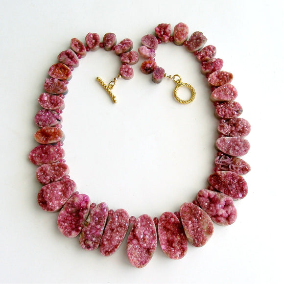 #1 Cherie Necklace - Pink Cobalto Pink Sapphires Druzy Necklace
