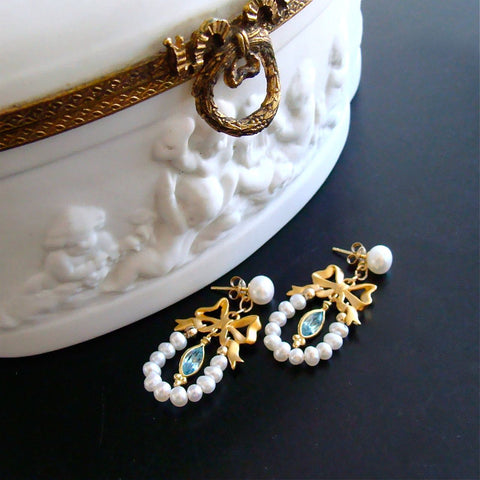 #2 Cassandra Earrings - Regency Style Bow Pearl Earrings