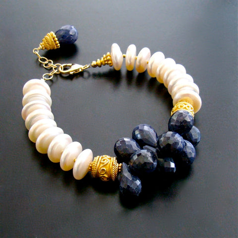 #2 Loretta III Bracelet - Loretta III Bracelet - Blue Sapphire & Coin Pearls