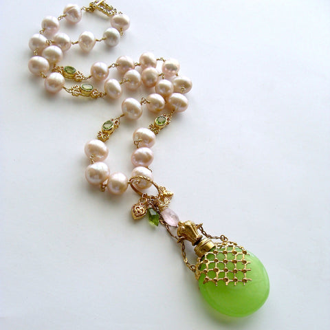 #1 Marjory Necklace  Opaline Scent Bottle Peridot Pink Pearls