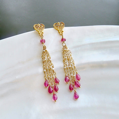 #3 Valentina Duster Earrings - Pink Sapphire Micro Seed Pearls