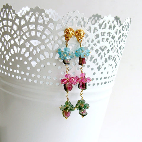 Watermelon Tourmaline Slices Pink Topaz Apatite Green Tourmaline Duster Earrings - Andrea III Earrings