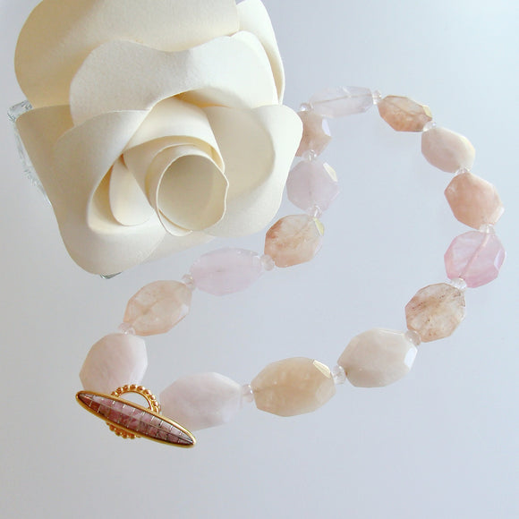 Morganite Oval Slabs Rose Quartz Rhodochrosite Inlay Toggle - Bettina Necklace