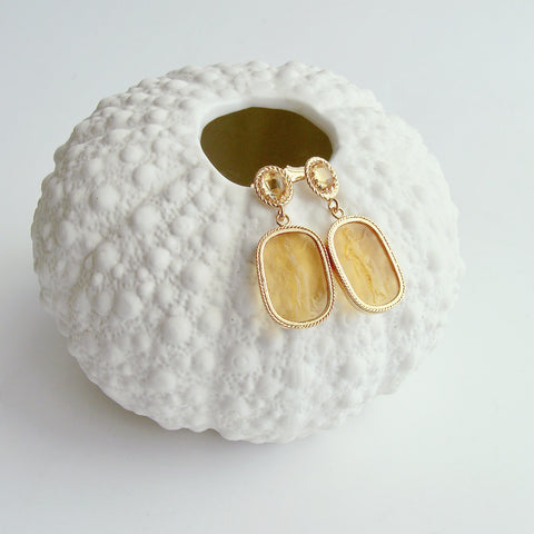 Grecian Goddess Intaglios Citrine Post Earrings - Boccadasse Earrings