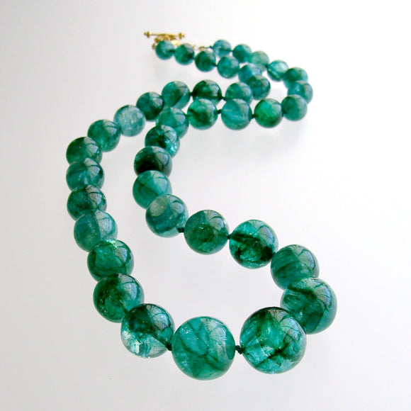 Graduated Hand Knotted Emerald Necklace 14KYG Toggle - Esme Necklace