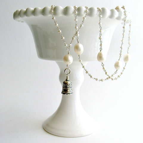 Seed Pearl Baroque Pearl Mom Bell Necklace - Mom II Bell Necklace