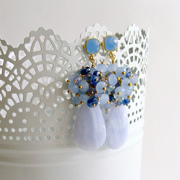 Blue Lace Agate Tanzanite Topaz Kyanite Earrings - Ophelia Cluster Earrings