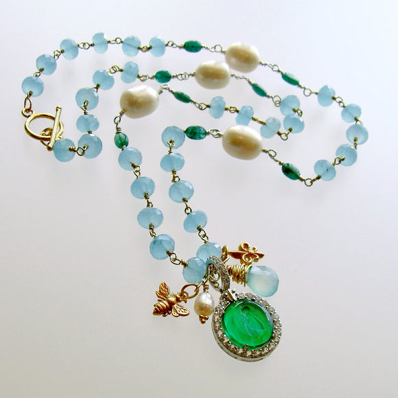 Napoleonic Bee Venetian Glass Intaglio Pendant Aqua Chalcedony Emerald Pearl Necklace - Peu d'Abelle IV Necklace