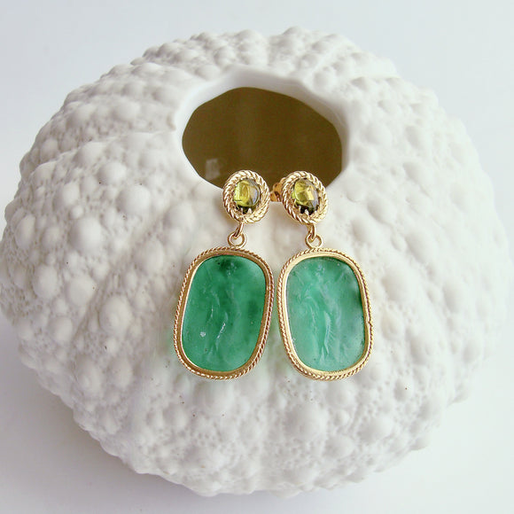 merald Green Venetian Glass Intaglios With Peridot Posts - Ravello II Earrings