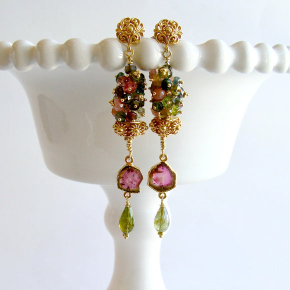 Tourmaline Slices Long Tourmaline Cluster Earrings - Tatiana IV Earrings