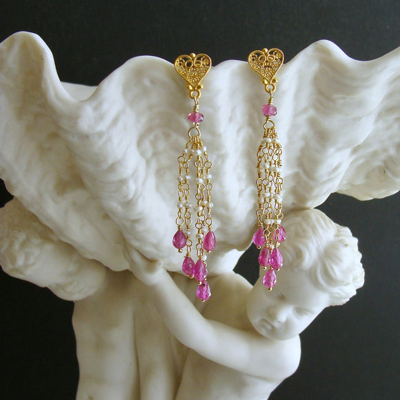 Pink Sapphire Micro Seed Pearls Filigree Heart Post Earrings - Valentina Duster Earrings II