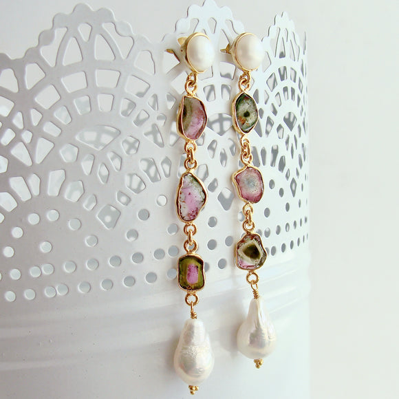 Watermelon Tourmaline Slices Flameball Pearl Post Duster Earrings - Anastasia Earrings