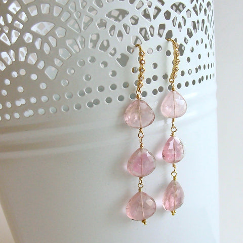 Triple Pink Afghan Tourmaline Cascading Hearts Earrings - Allison II Earrings