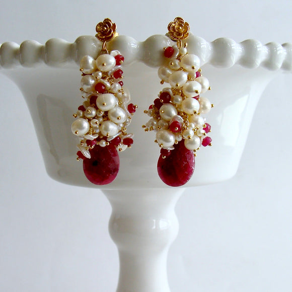 Rubies Freshwater Keshi & Seed  Pearls - Cherries In The Snow Cluster Earrings