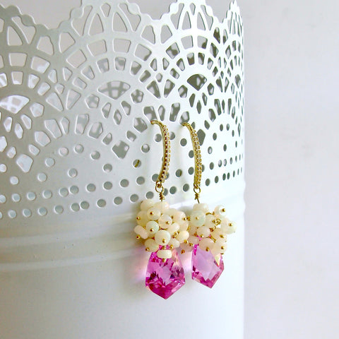 Hot Pink Topaz Shield Briolettes Ethiopian Opal Cluster Earrings - Desiree II Earrings