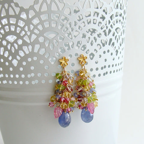 Tanzanite, Pink Topaz, Pink Zircon, Amethyst, Peridot, Blue Topaz, Citrine Cluster Earrings - Fleur VI Earrings