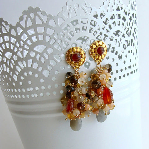 Moonstone Citrine Sesparite Quartz Zircon Hessonite Carnelain Cluster Earrings - Fleurs d'Automme Earrings