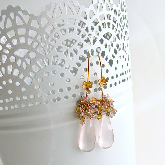 Rose Quartz Pastel Sapphires Cluster Tendrils Earrings - Juliet IV Earrings