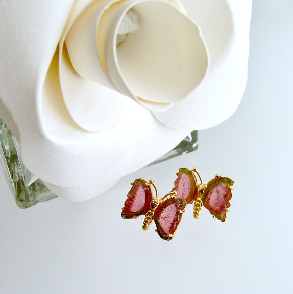 Le Papillon Post Earrings - Watermelon Tourmaline Butterfly Slices
