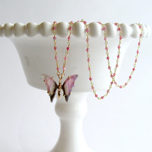 Pink Agate Butterfly Necklace - Papillon XIX Necklace