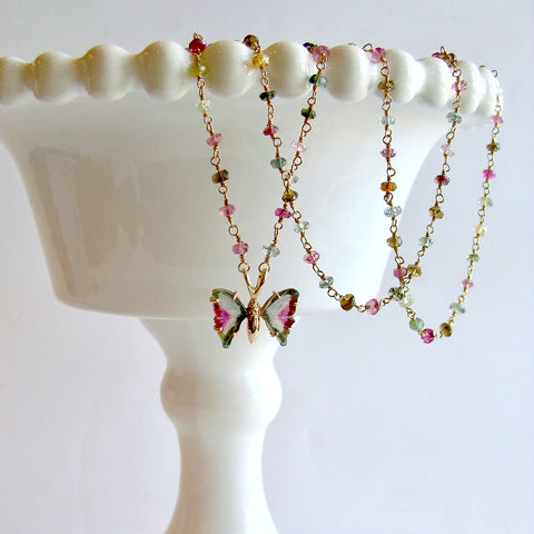 18K Gold Watermelon Tourmaline Butterfly Pendant Tourmaline Beaded Chain - Le Papillon XXII Necklace